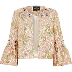Pink brocade gem embellished trophy jacket