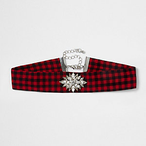 Red check print rhinestone choker