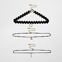 Black rhinestone circle multi row choker set
