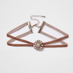 Blush pink velvet double strap choker