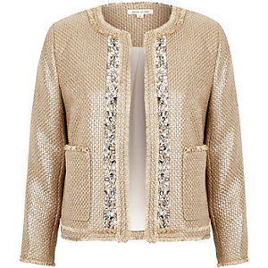 Beige metallic embellished boucle jacket