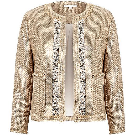 Beige metallic embellished boucle jacket