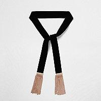 Écharpe en velours noir avec chaîne et pampilles