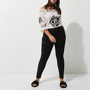 Plus black distressed Molly jeggings
