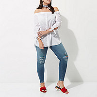 Plus blue Amelie super skinny ripped jeans
