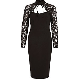 Black lace sleeve choker neck bodycon dress