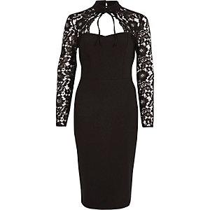 Schwarzes Bodycon-Kleid mit Spitzenärmeln