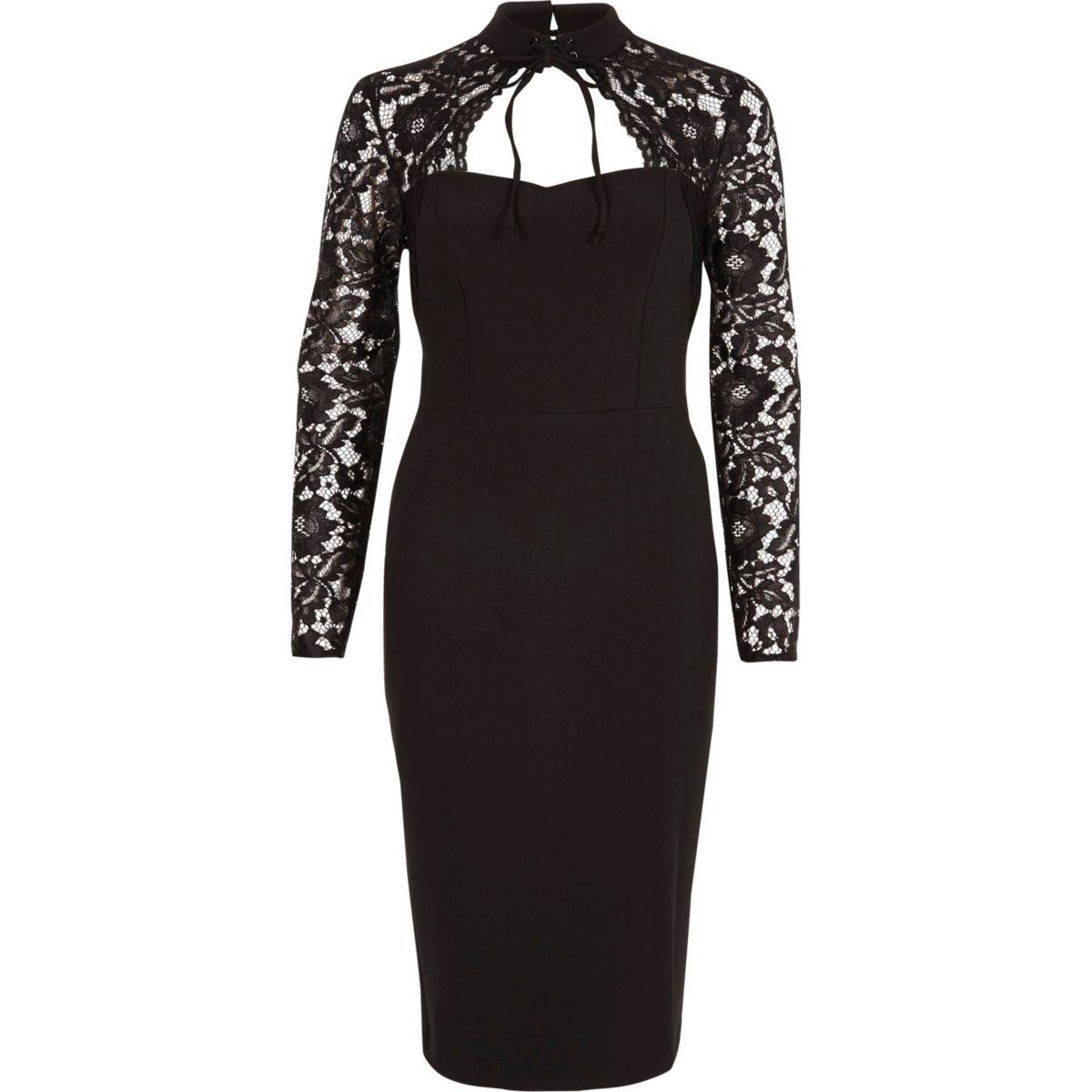 Black lace sleeve choker neck bodycon dress