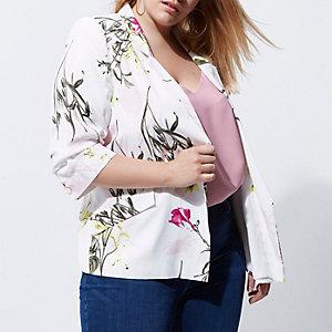 Plus white floral print blazer
