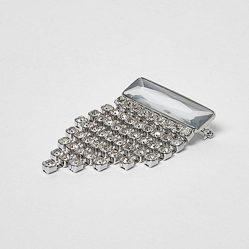 Silver tone rhinestone cascade brooch