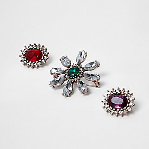 Rose gold tone jewel embellished brooch pack