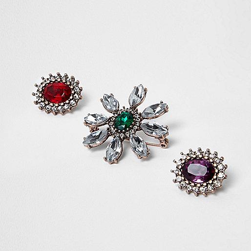 Rose gold tone jewel embellished brooch pack