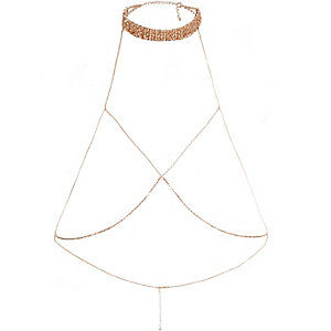 Rose gold tone choker harness body chain