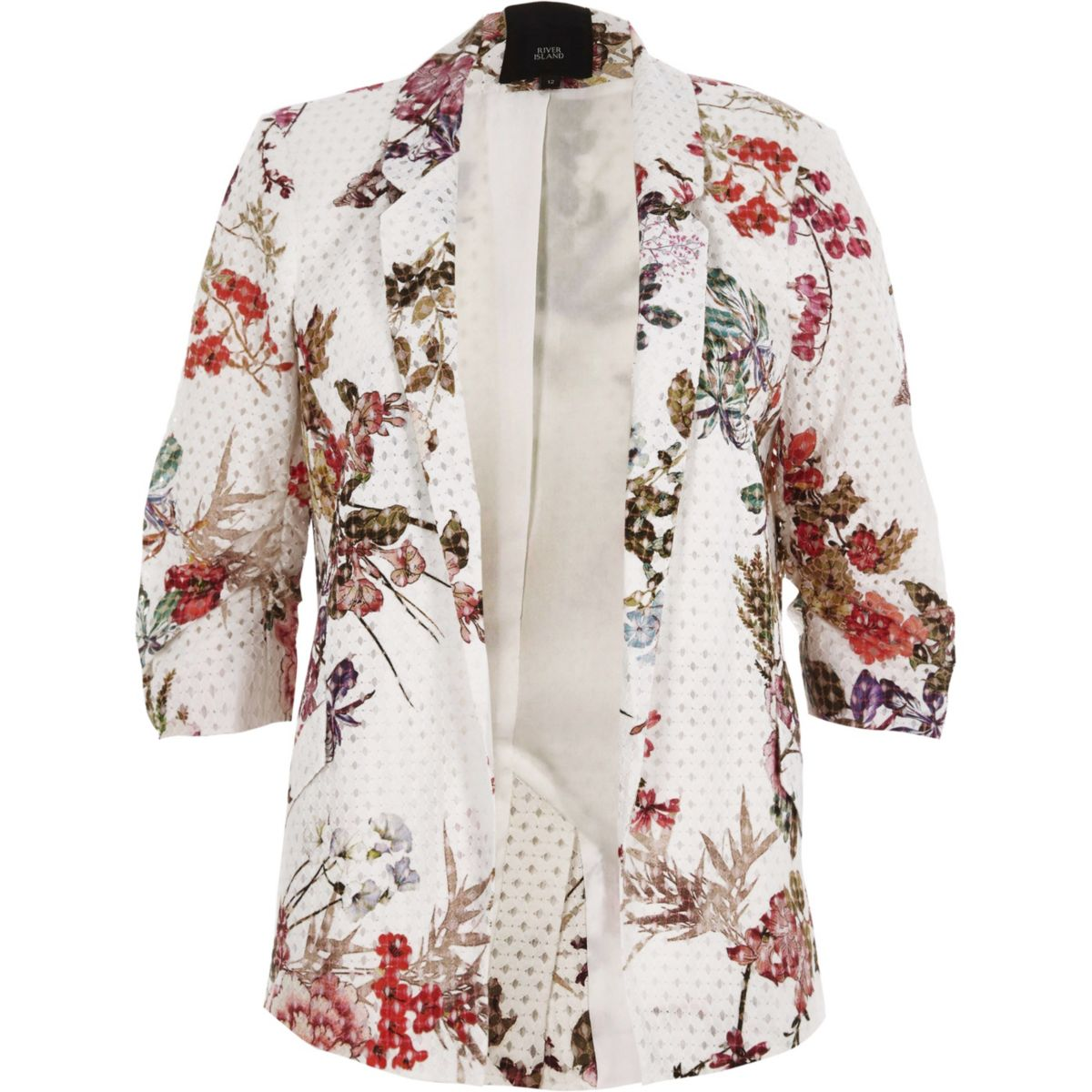White floral print lace ruched sleeve blazer