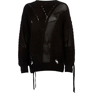 Black laddered tie detail sweater