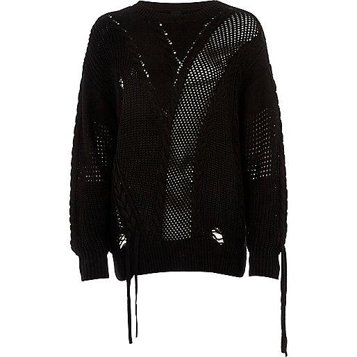 Black laddered tie detail sweater