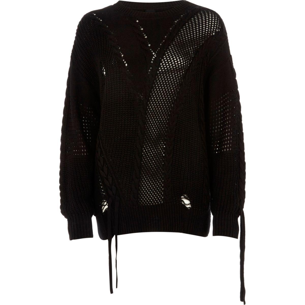 Zwarte geladderde pullover met strikken