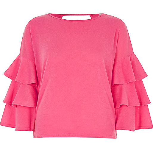 Pink knit frill sleeve top