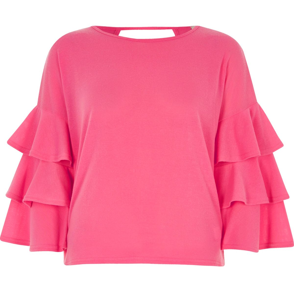River Island Pink Frill Sleeve Top