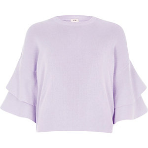 Lilac knit frill sleeve sweater