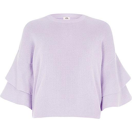 Lilac knit frill sleeve jumper