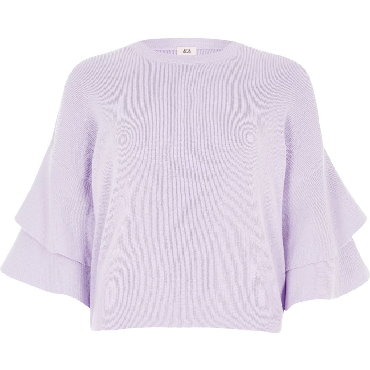 Lilac knit frill sleeve jumper
