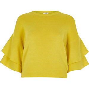 Yellow knit frill sleeve sweater