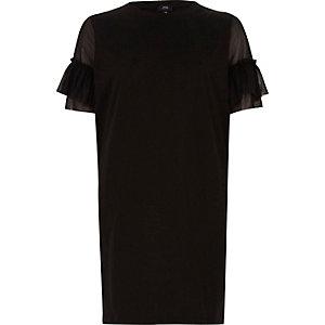Black mesh frill sleeve oversized T-shirt