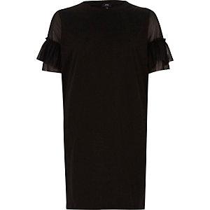 T-shirt oversize noir avec manches en tulle à volants