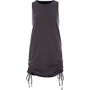 Dark grey ruched hem tank top