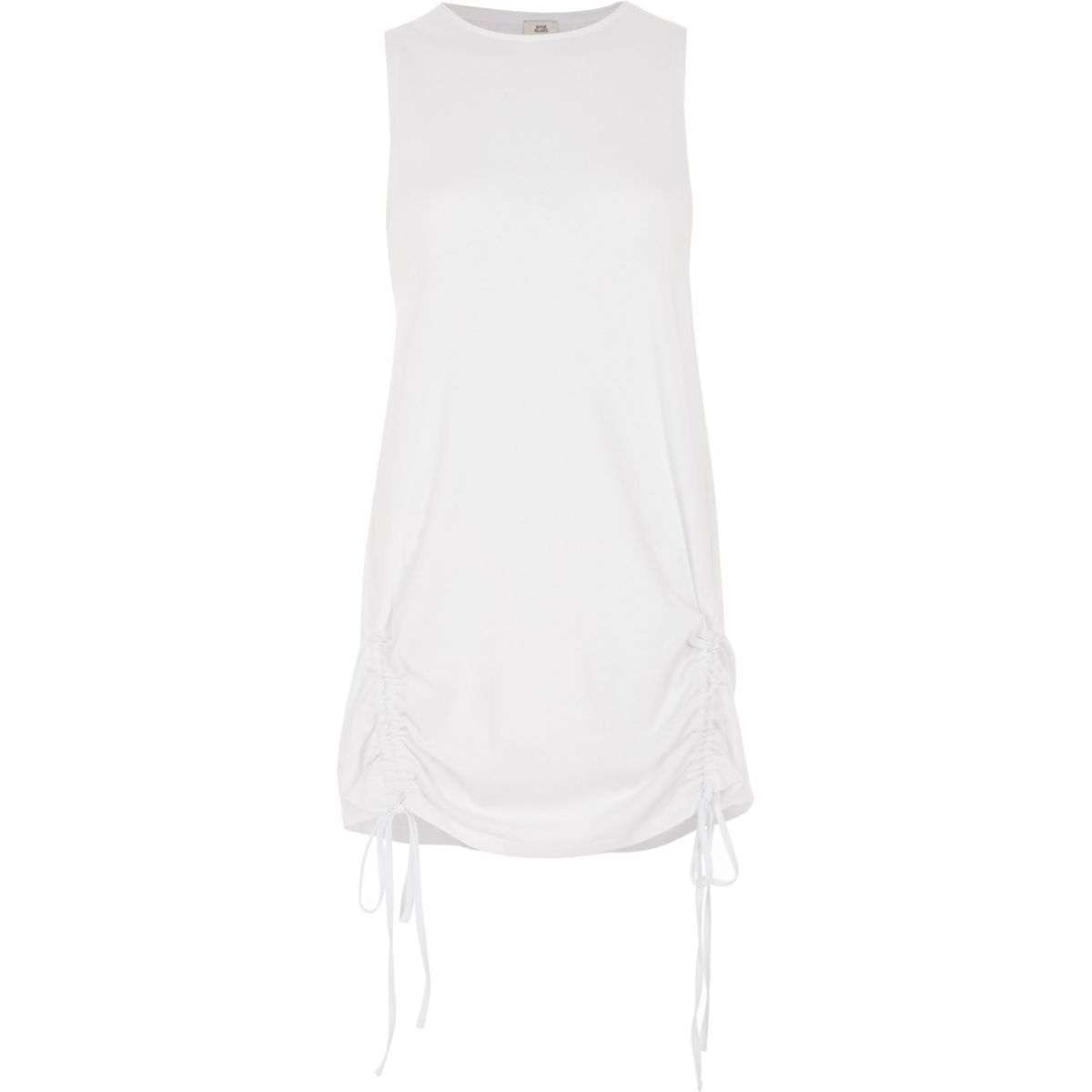 White ruched hem tank top
