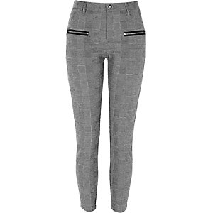Black check zip front skinny fit trousers
