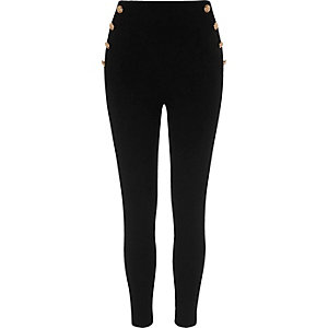 Black button side ponte leggings