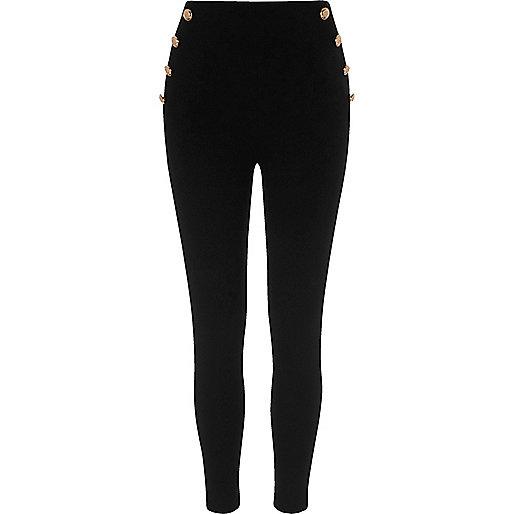 Black button side ponte leggings