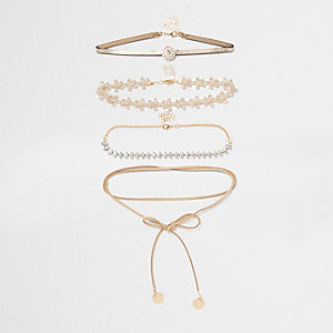 Brown diamante lace bolo choker set