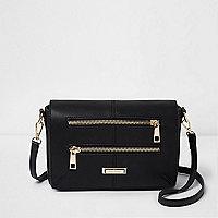 Black double zip front bag