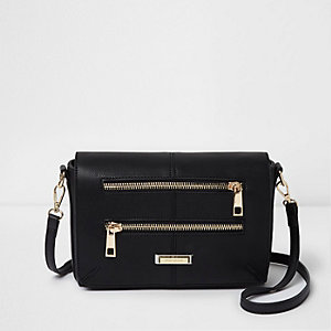Black double zip front bag