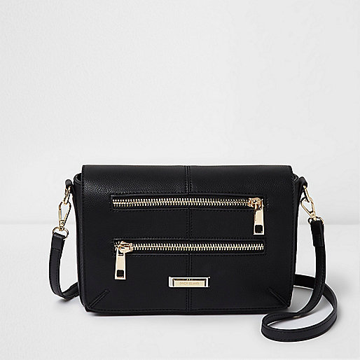 Zwarte tas met twee ritsen voor