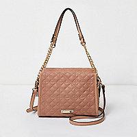 Roze kleine doorgestikte handtas met ketting