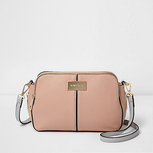 Beige triple compartment cross body bag