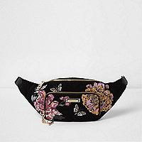 Black floral embroidered bum bag