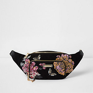 Black floral embroidered bum bag