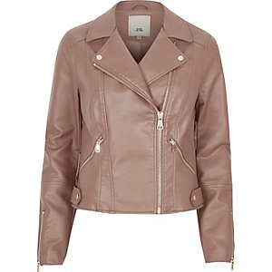 Mink brown faux leather biker jacket