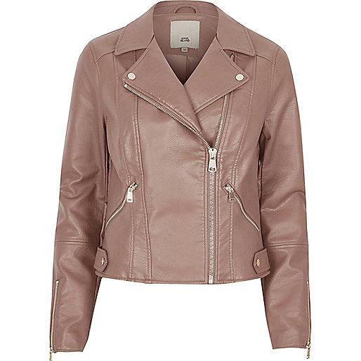 Mink brown faux leather biker jacket