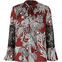 Bluse mit Spitzeneinsatz und Blumenmuster