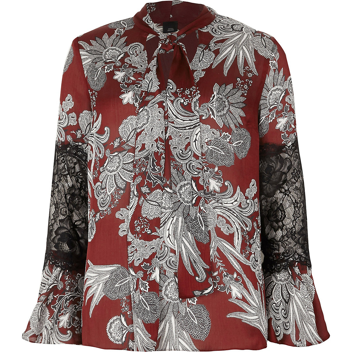 Red floral print lace insert blouse