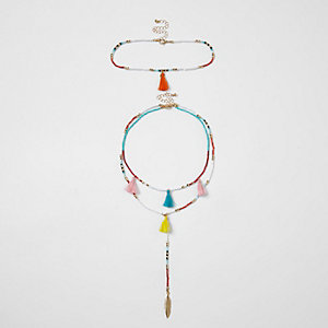 White multi coloured fluro beaded choker set