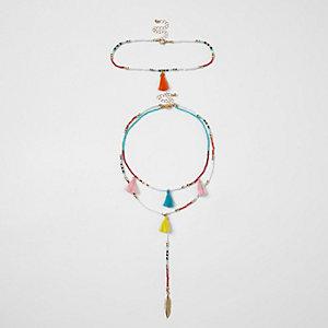 Lot de ras-de-cou multicolores ornés de perles