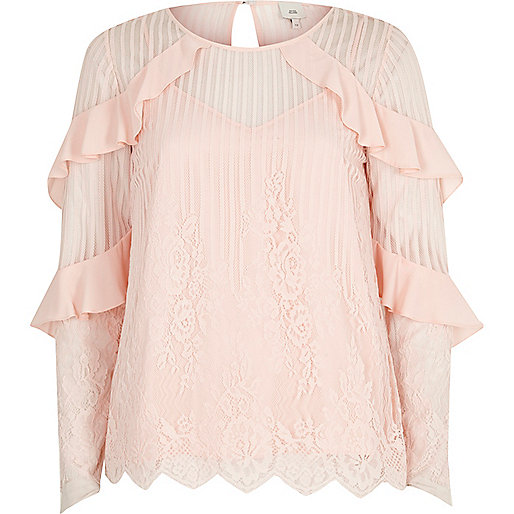 Light pink lace mesh long sleeve top