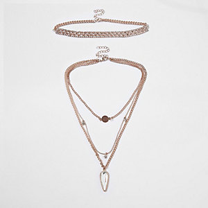 Rose gold tone multi row choker set